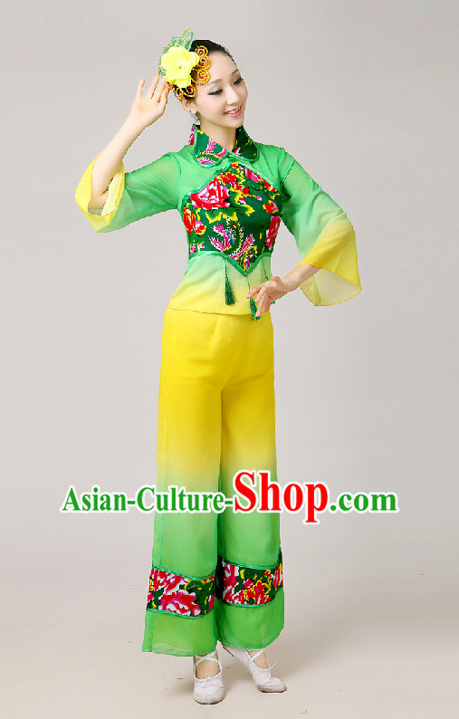 Chinese New Year Folk Fan Group Dance Costumes and Hair Jewelry Complete Set