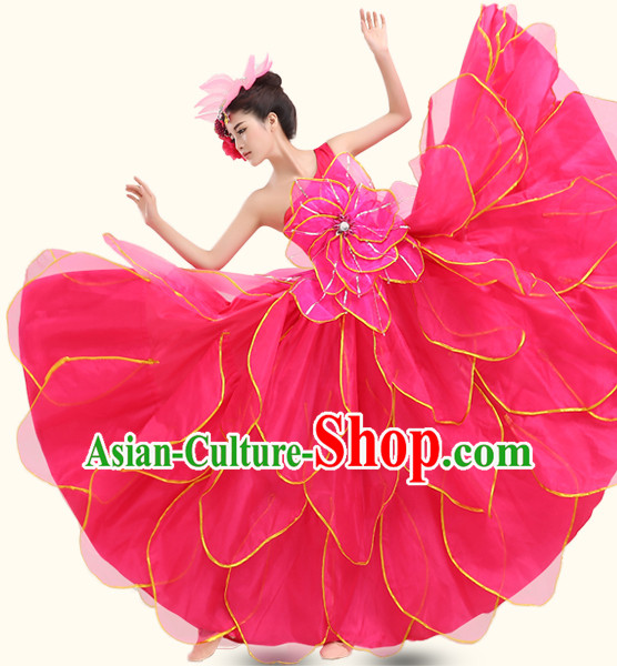 Red Chinese Ballroom Dancing Wholesale Clothing Dance Costumes Dancewear Dance Clothes and Headpieces Complete Set for Women