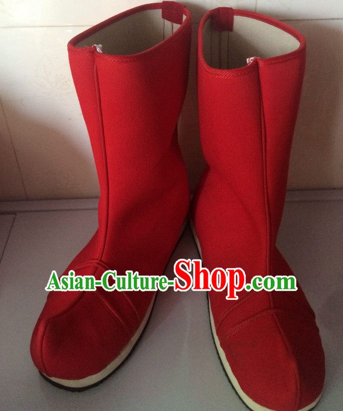 Ancient Style Red Female Long Red Boots