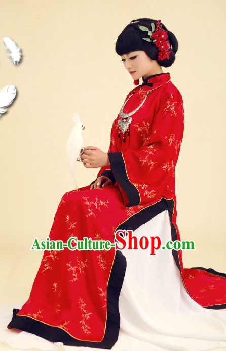 Chinese Classical Wedding Costume and Hair Jewelry Complete Set