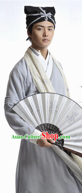 Ancient Chinese Scholar Costume and Hat Complete Set