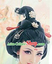 Chinese Qing Manchu Black Wigs and Hair Jewelry for Women