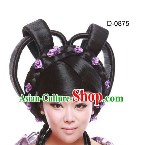 Chinese Ancient Female Empress Black Long Lady Hair extensions Wigs Fascinators Toupee Long Wigs Hair Pieces for Ladies