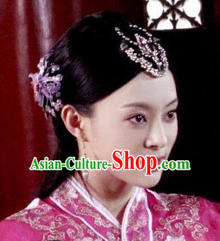 Chinese Qing Dynasty Female Black Long Wigs and Hair Ornaments