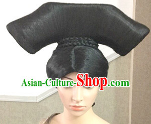 Chinese Qing Dynasty Black Long Wigs for Women