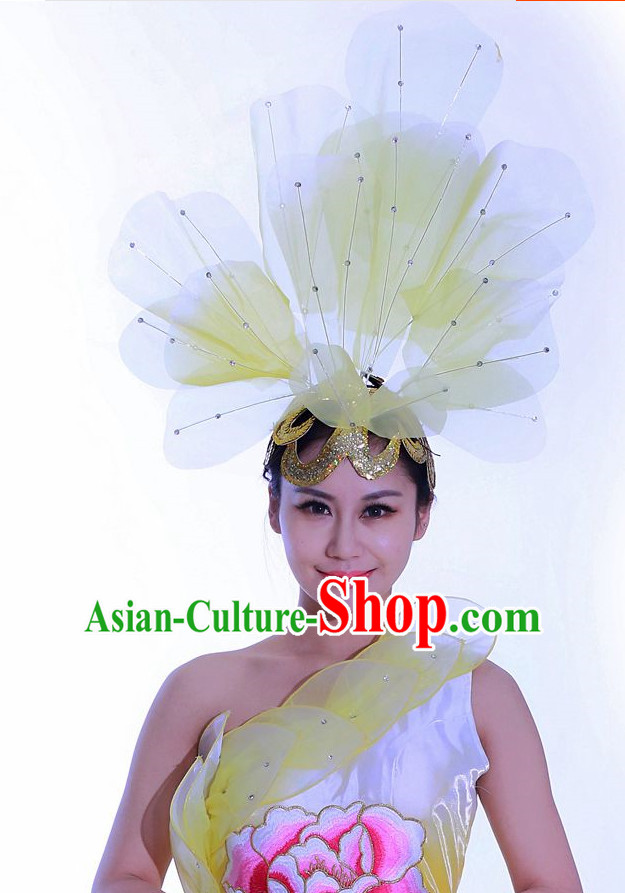 Yellow Chinese Folk Dance Headdress Headpieces