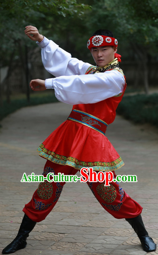 Chinese Custom Made Folk Dance Costume and Headpieces Complete Set for Men