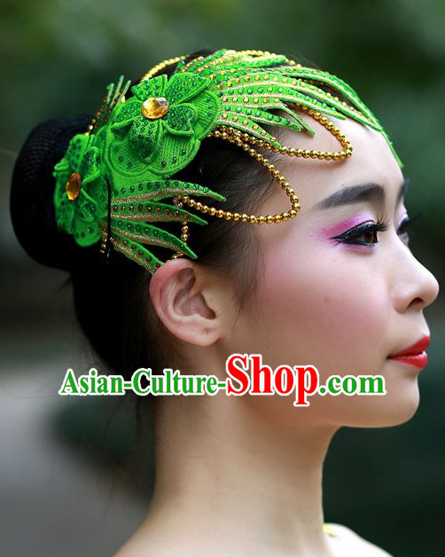 Green Chinese Folk Dance Headpieces