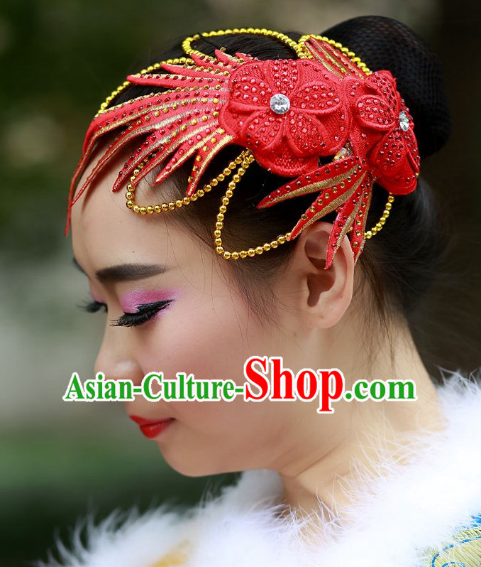 Red Chinese Folk Dance Headpieces