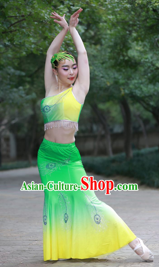 Green Chinese Custom Made Folk Dai Ethnic Dance Costume and Headpieces Complete Set for Women