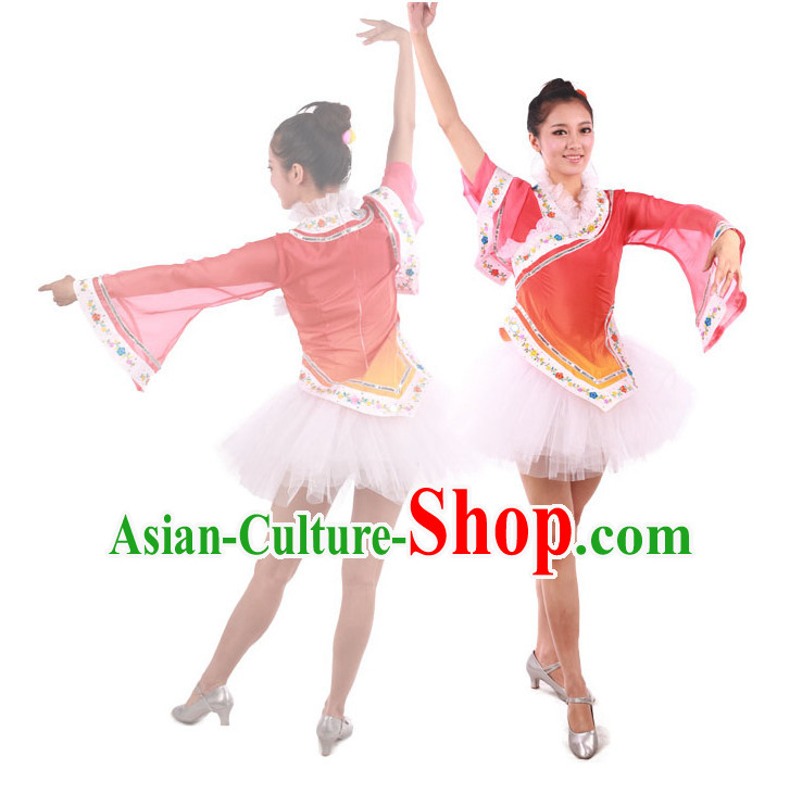 Chinese Teenagers Folk Fan Dance Costume and Headpiece for Competition