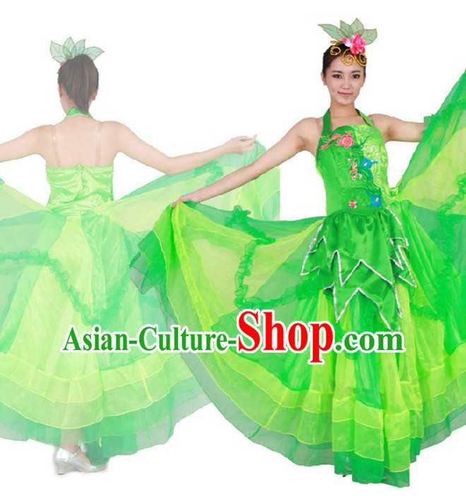 Chinese Teenagers Green Dance Costumes for Competition