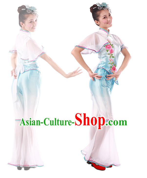 Chinese Teenagers Han Dance Costume and Hair Decorations for Competition