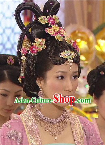 Chinese Handmade Palace Concubine Flower Hair Accessories Headband Headbands Fascinators Wedding Hair Clips