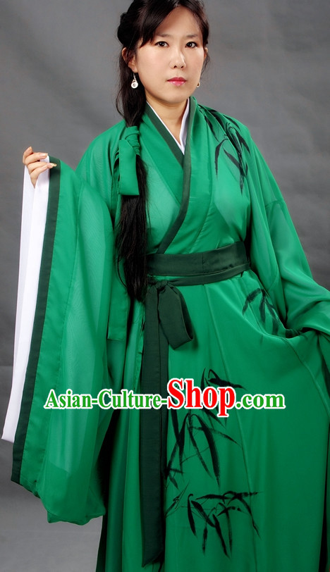 Chinese Girl Bamboo Hanfu Costume Ancient Costume Traditional Clothing Traditiional Dress Clothing online