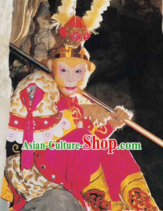 Chinese Sun Wukong Monkey King Costumes and Headpieces Complete Set