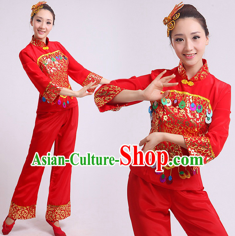 Chinese Stage Performance Dance Costumes Group Dancing Costume Dancewear China Dress Dance Wear and Head Pieces Complete Set
