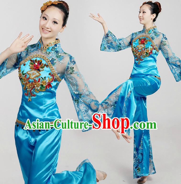 Chinese Dance Costumes Ribbon Dancing Costume Dancewear China Dress Dance Wear and Hair Accessories Complete Set