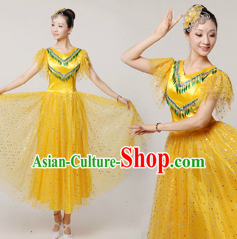 Asian Dance Costumes Ribbon Dancing Costume Dancewear China Dress Dance Wear and Headwear Complete Set