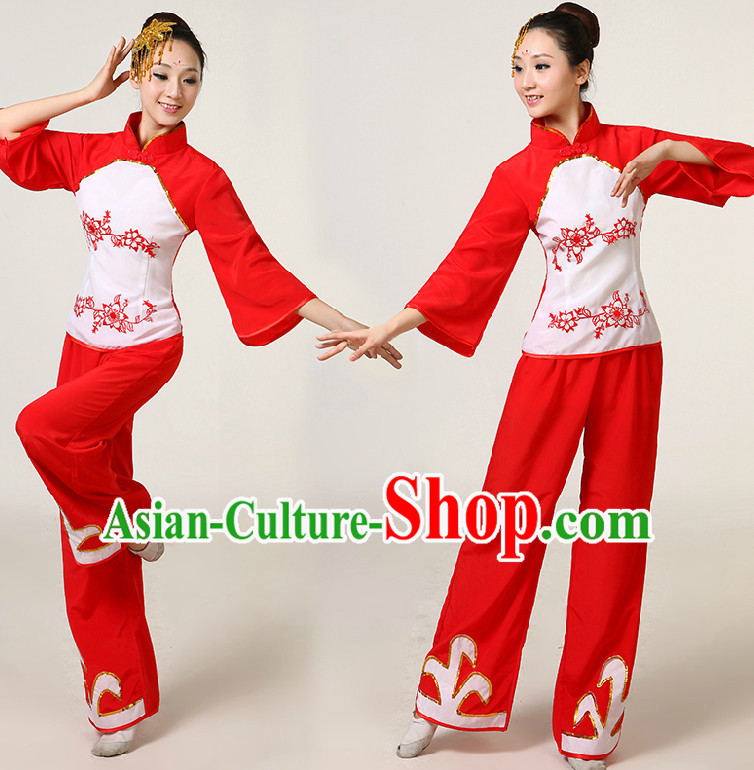 Asia Dance Costumes Ribbon Dancing Costume Dancewear China Dress Dance Wear and Headpieces Complete Set