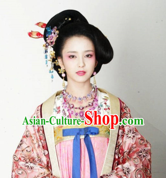 Chinese Tang Dynasty Emperor Concubine Wigs and Hair Accessories Set