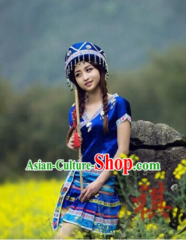 Chinese Folk Ethnic Clothes and Hat Complete Set
