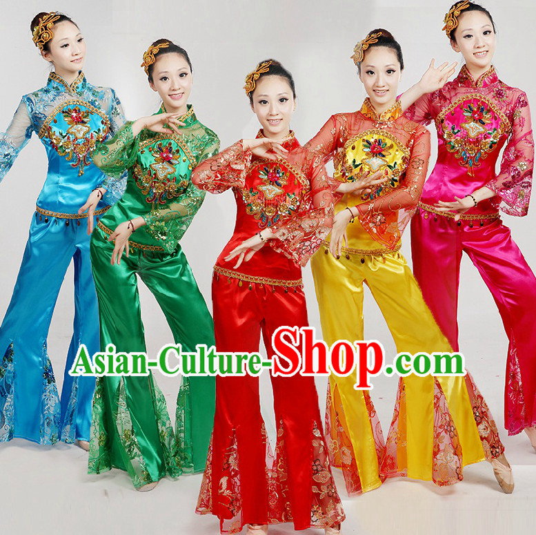 Chinese Folk Dance Costumes Ribbon Dancing Costume Dancewear China Dress Dance Wear and Hair Accessories Complete Set