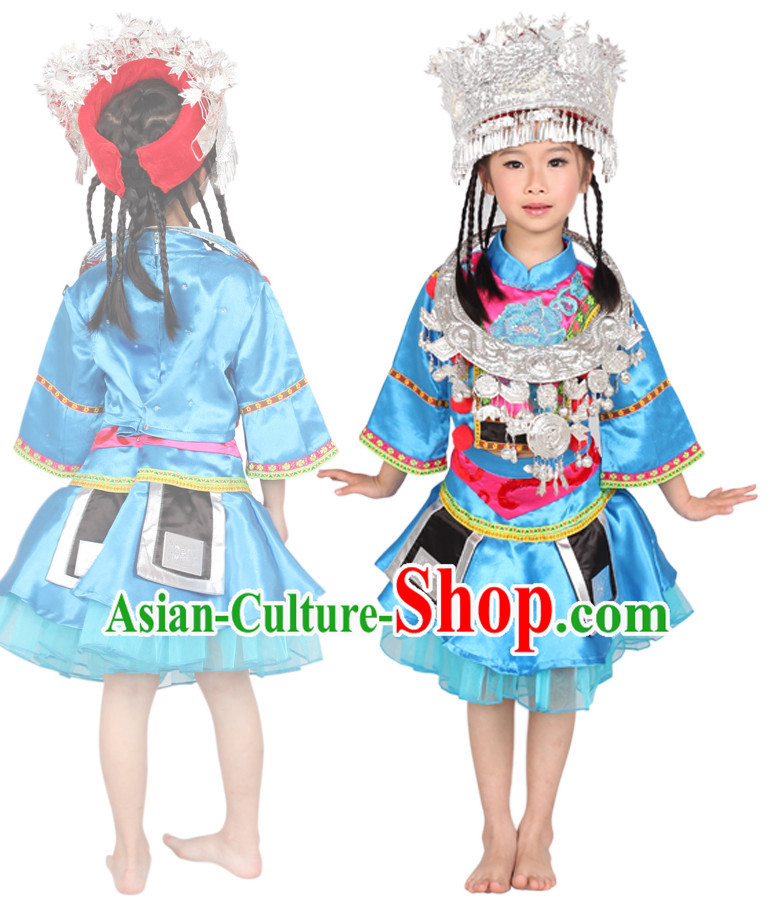 Chinese Miao Tribe Ethnic Minority Dance Costume Competition Dance Costumes for Kids