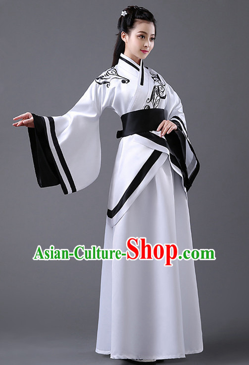 Black and White Chinese Classic Hanfu Competition Dance Costume Group Dancing Costumes for Women