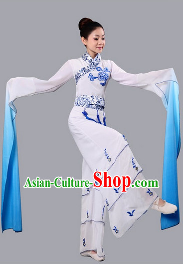 Chinese Water Sleeves Dance Competition Dance Costume Group Dancing Costumes and Headwear Complete Set for Women