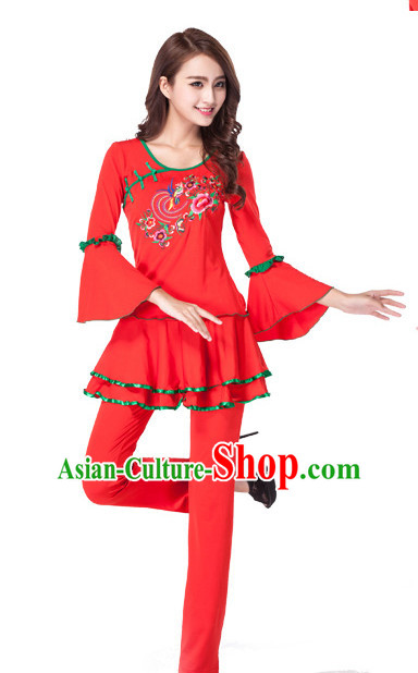 Red Chinese Style Fan Dance Costume Discount Dance Costume Ideas Dancewear Supply Dance Wear Dance Clothes Suit