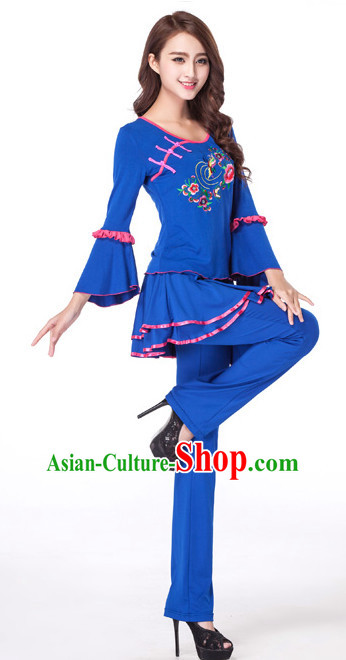 Blue Chinese Style Fan Dance Costume Discount Dance Costume Ideas Dancewear Supply Dance Wear Dance Clothes Suit