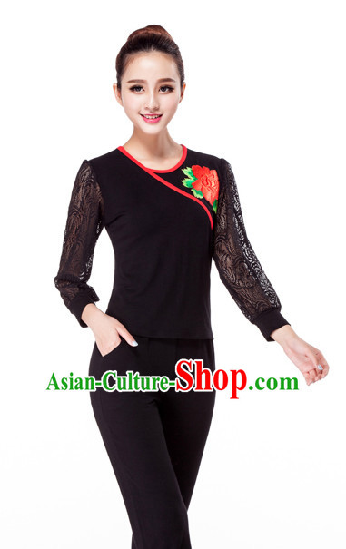 Black China Style Modern Dance Costume Ideas Dancewear Supply Dance Wear Dance Clothes Suit