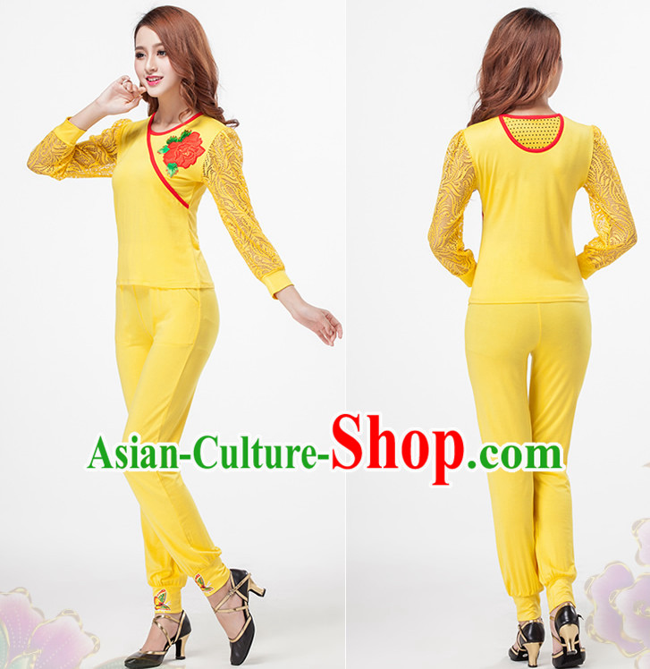 Yellow China Style Modern Dance Costume Ideas Dancewear Supply Dance Wear Dance Clothes Suit