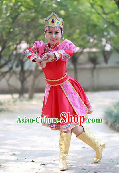 China Mongolian Dancer Costume and Hat for Women