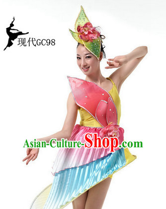 Chinese Folk Dancing Costume and Hair Accessories Complete Set for Women