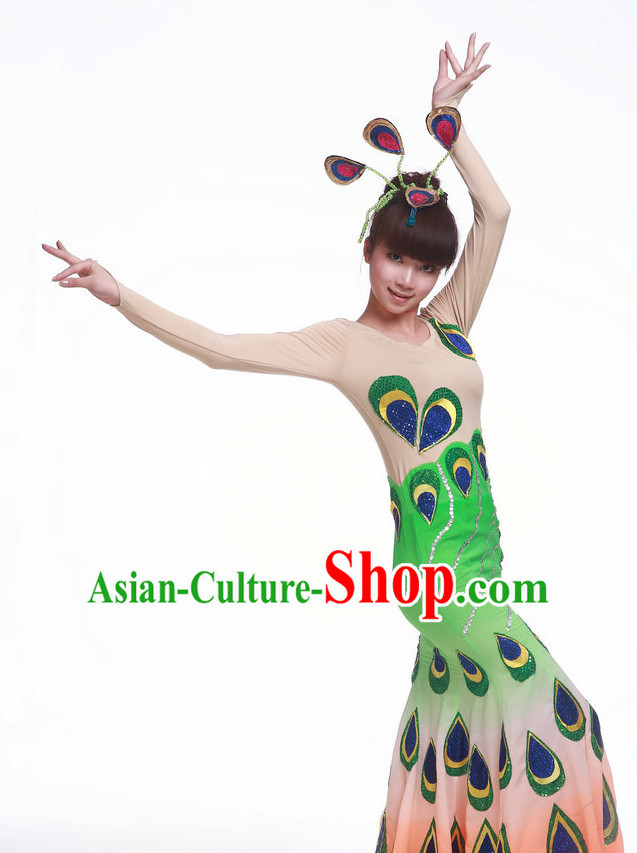 Chinese Classic Peacock Dancing Costume Complete Set for Women