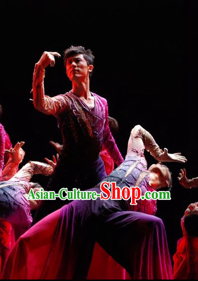 Chinese Classic Stage Group Dance Costumes Complete Set for Men