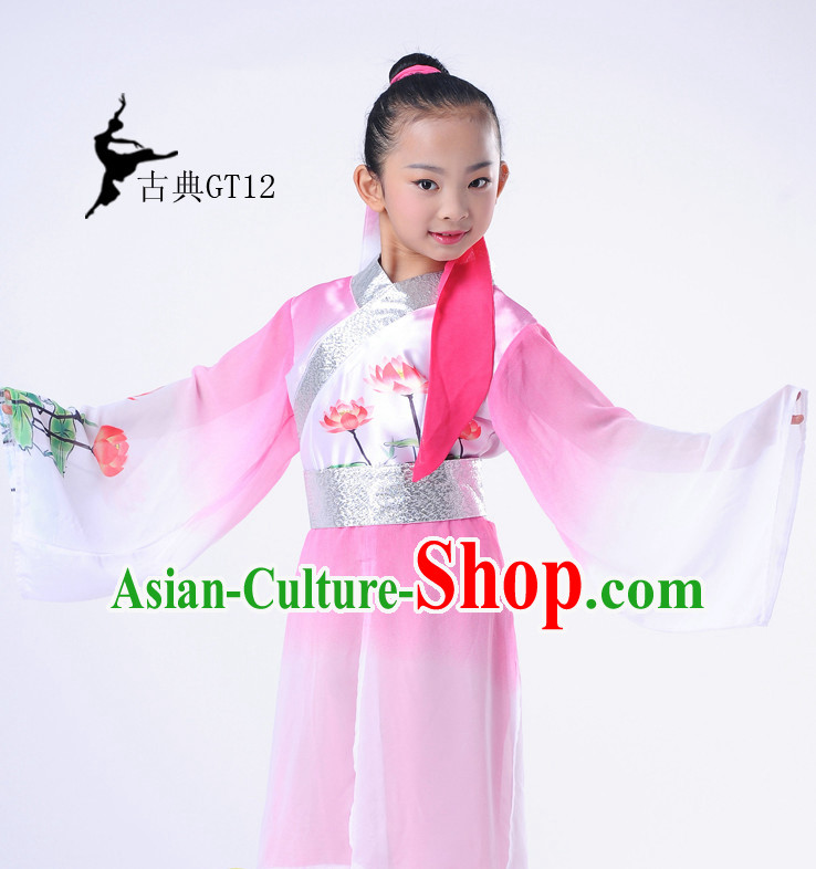 Chinese Classic Lotus Folk Dance Costumes Complete Set for Kids