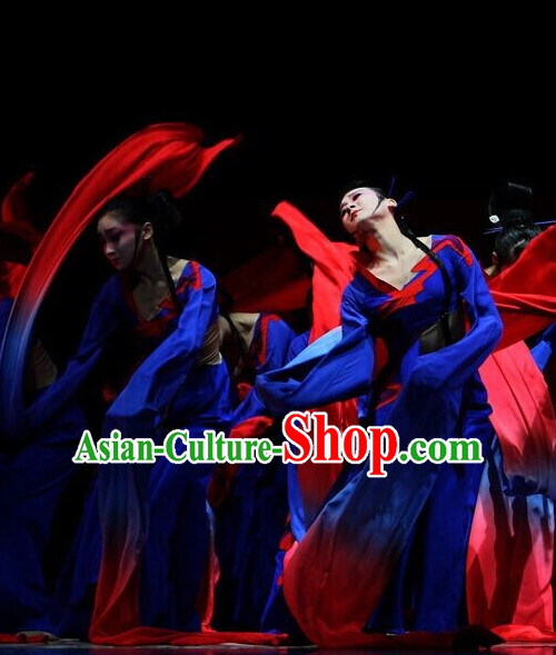 Chinese Classic Stage Performance Fan Dancewear Dance Costume Complete Set for Girls