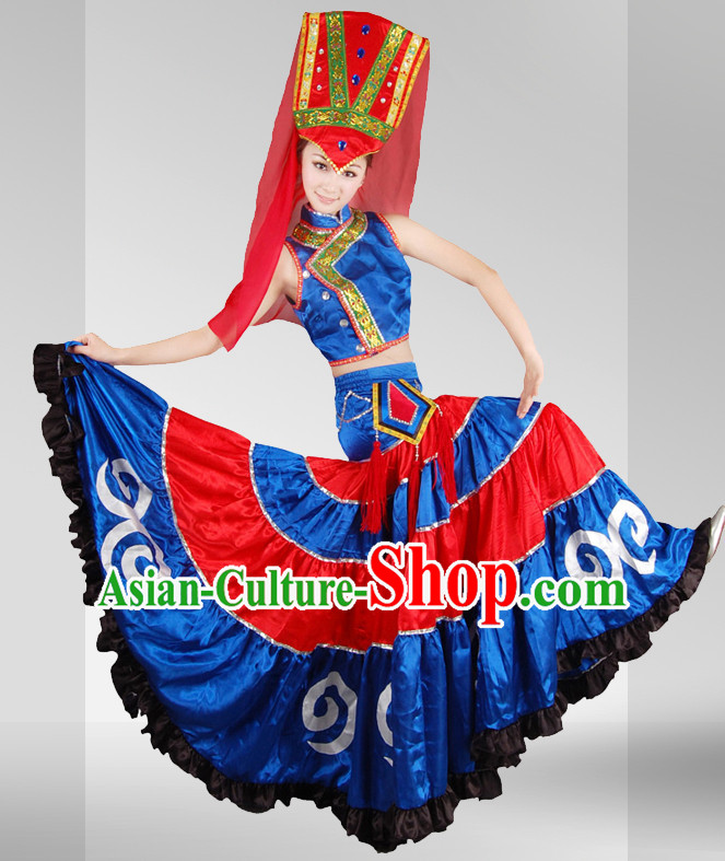 Chinese Ethnic Stage Performance Dancewear Dance Costume Complete Set for Women
