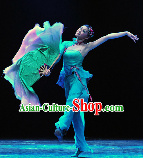 Chinese Professional Stage Performance Fan Group Dancewear Dance Costume Complete Set for Women