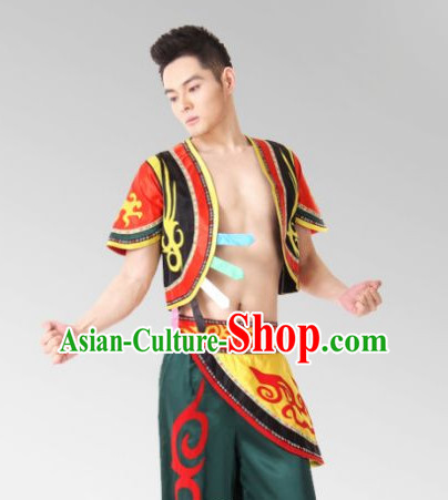 Chinese Folk Mongolian Dance Costume Complete Set for Men