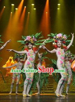 Chinese Folk Flower Group Dancing Uniform for Women