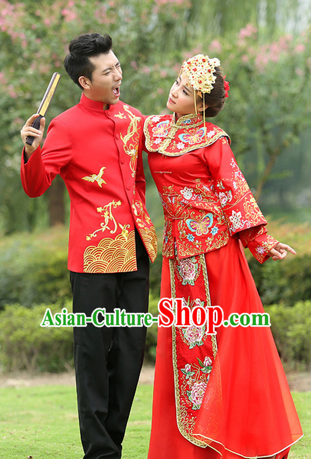 Traditional Red Wedding Outfit for Men and Women