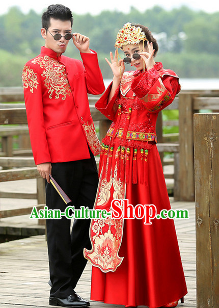Romantci Chinese Style Wedding Dress Complete Set for Women and Men