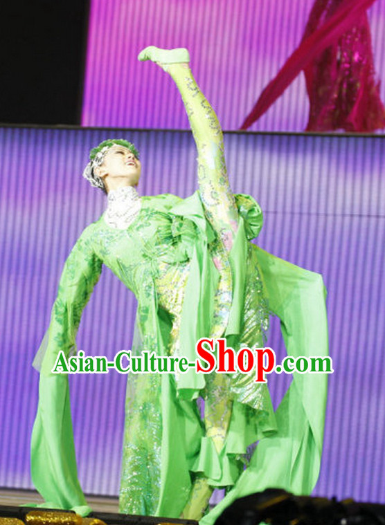 Chinese Green Dance Costumes Dancewear Asian Dance Wear
