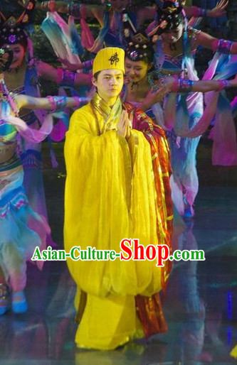 Chinese Ancient Shaolin Monk Abbot Master Costume and Hat for Men