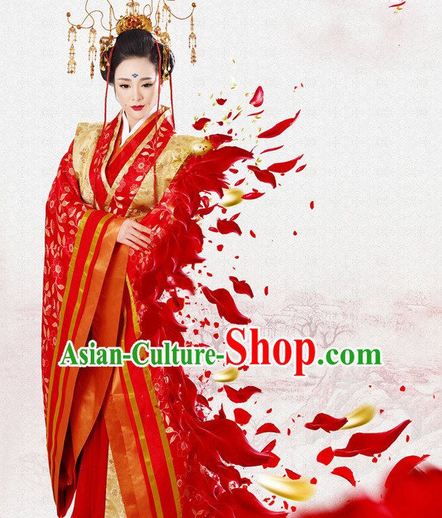 Tang Dynasty Queen Costume and Hair Jewelry Complete Set