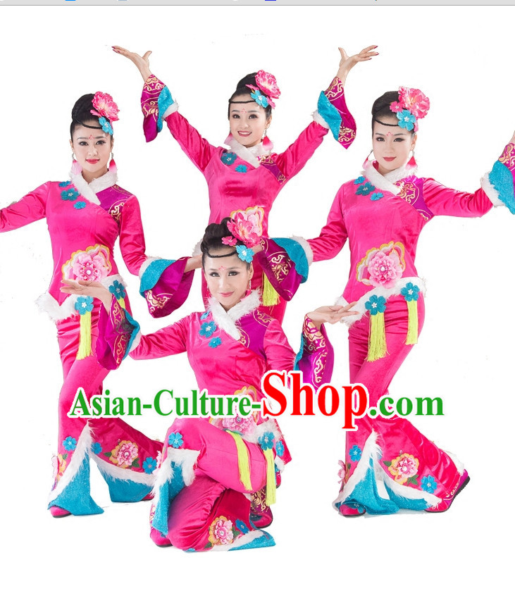 Pink Traditional Chinese Spring Festival Dance Costumes and Headwear Complete Set for Women